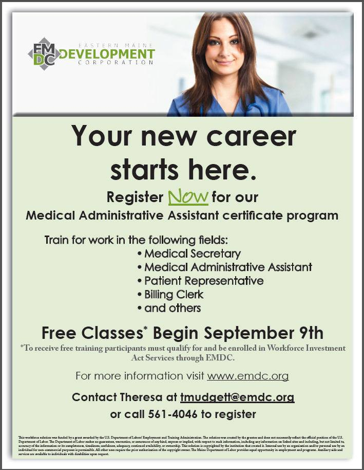 Bangor Free Medical Administrative Assistant Certificate Training Trc